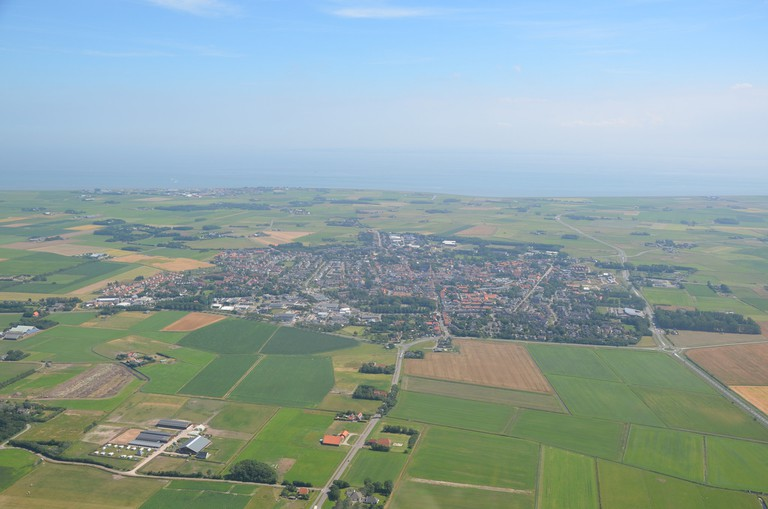 An aerial view of Den Burg and Texel