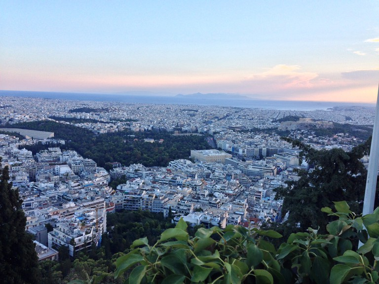View of Athens from the top of Lykavittos hill