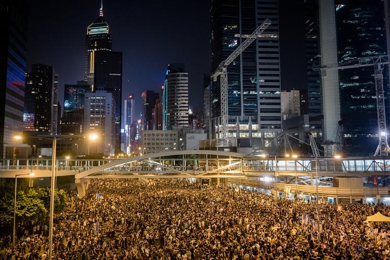 Protestors gather during Hong Kong's Umbrella Revolution