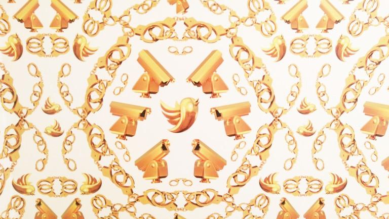 Ai Weiwei: Untitled (Golden Handcuffs, Surveillance Cameras and Twitter Birds) Wallpaper