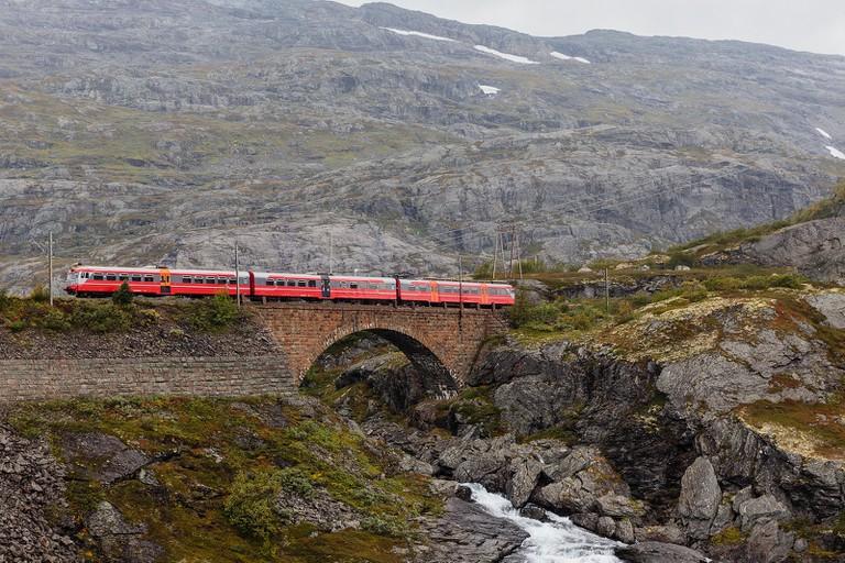 The railway alongside Rallarvegen