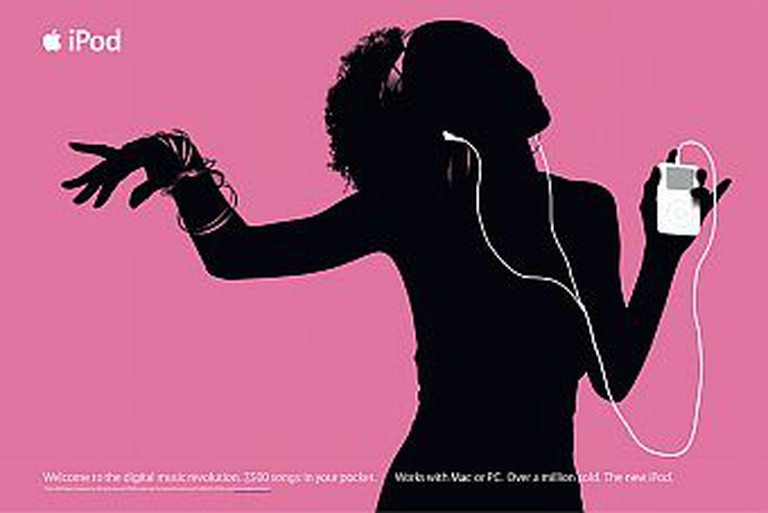 """Apple """"silhouette""""-style advertising for the iPod digital music player, circa 2003"""