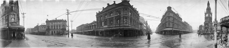 Intersection of High, Manchester and Lichfield Streets, Christchurch, 8 May 1923