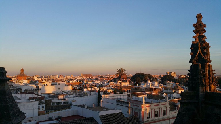 View over Seville at sunset, from the cathedral I