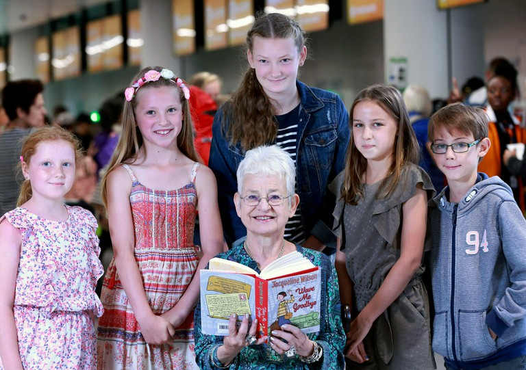 Dame Jacqueline Wilson at the launch of Flybrary