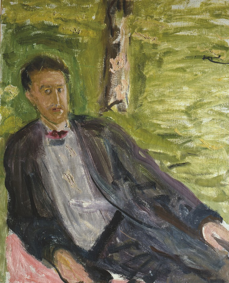 Richard Gerstl (1883-1908), Portrait of a Man (Green Background), summer 1908