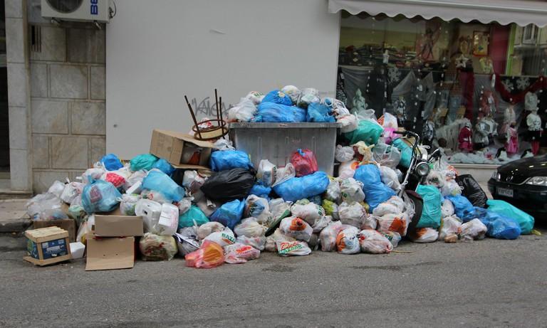 Garbage piling up in Athens