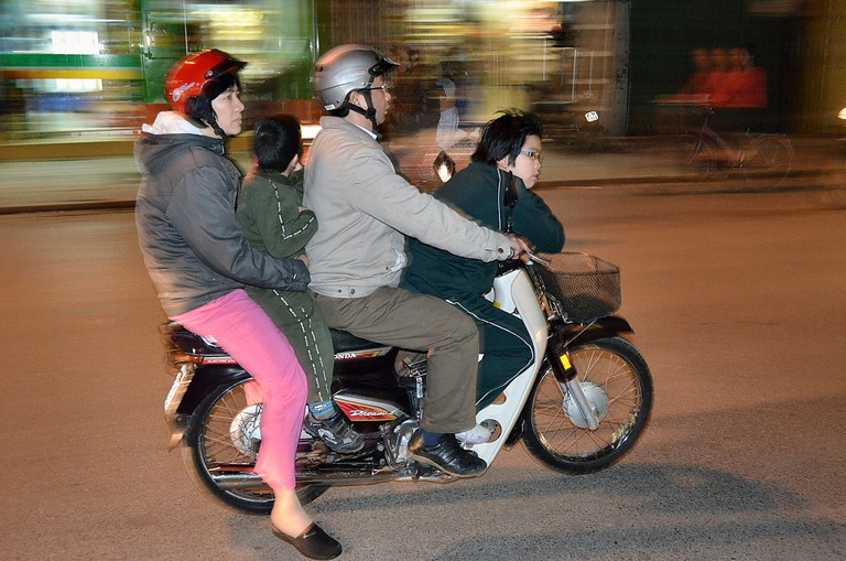 A family on two wheels