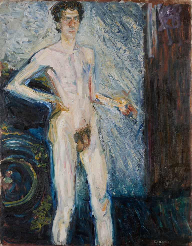 Richard Gerstl, Nude Self-Portrait with Palette (1908)