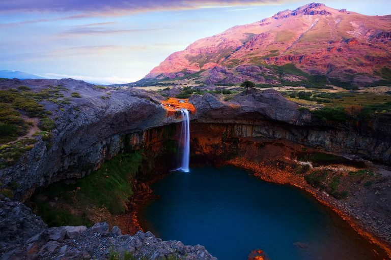 The Salta de Agrio waterfall in Patagonia