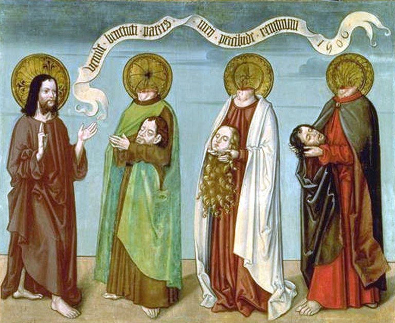 The headless saints Felix, Regula and Exuperantius are guided to heaven by Jesus.
