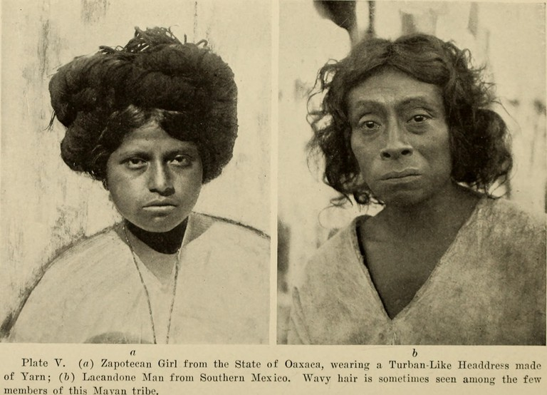 A Zapotec girl on the left and a Lacandon man on the right