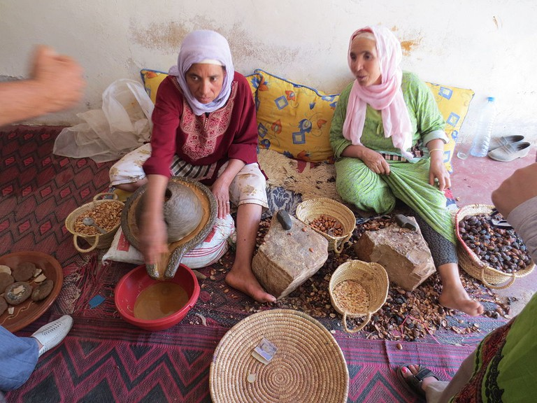 Ladies making Argan oil