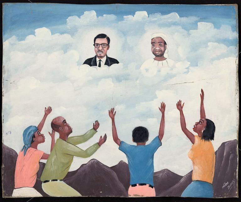 Burozi, Lumumba and Kimbangu in the clouds; Lubumbashi, Haut-Katanga, DRC, 1997. Oil on canvas