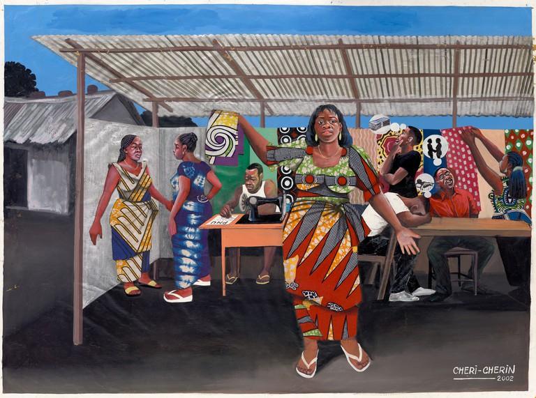 Chéri Chérin (b. 1955), Wax print seller; Kinshasa, DRC, 2002. Oil on canvas