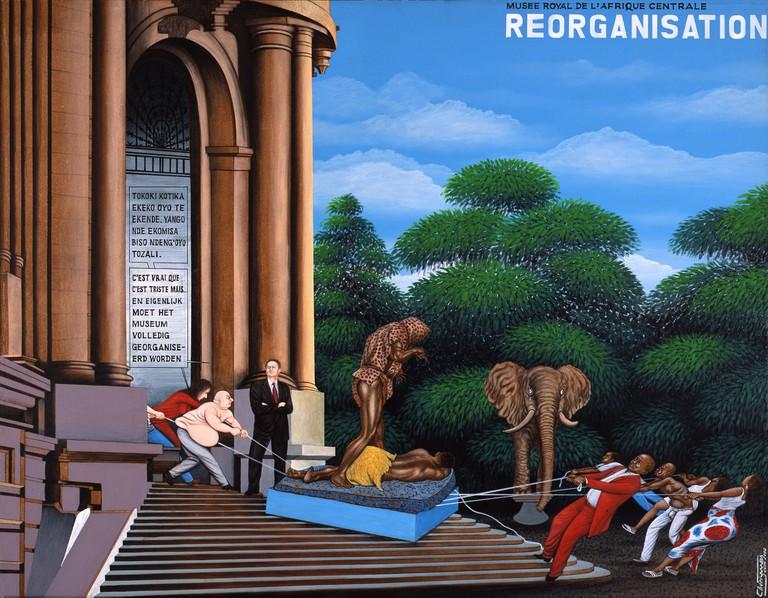 Chéri Samba (b. 1956), Reorganization; 2002. Oil on canvas