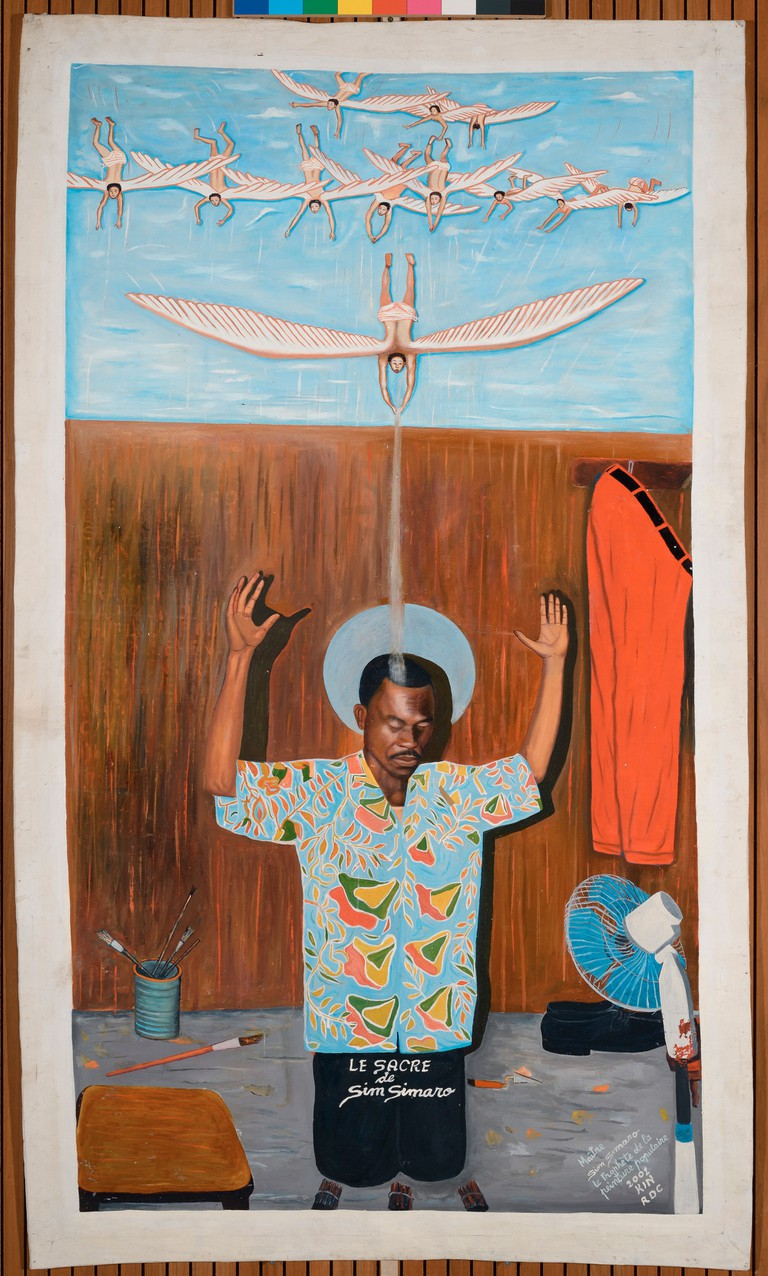 Sim Simaro (b. 1952), The Consecration of Sim Simaro; Kinshasa, 2001. Oil on canvas