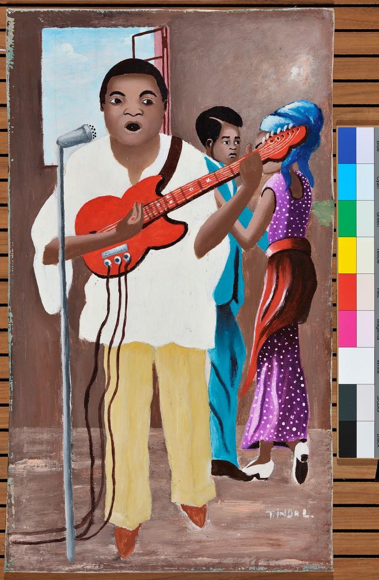 Tinda Lwimba (b. 1940), Bar scene; Lubumbashi, Haut-Katanga, RDC, 1996. Oil on canvas