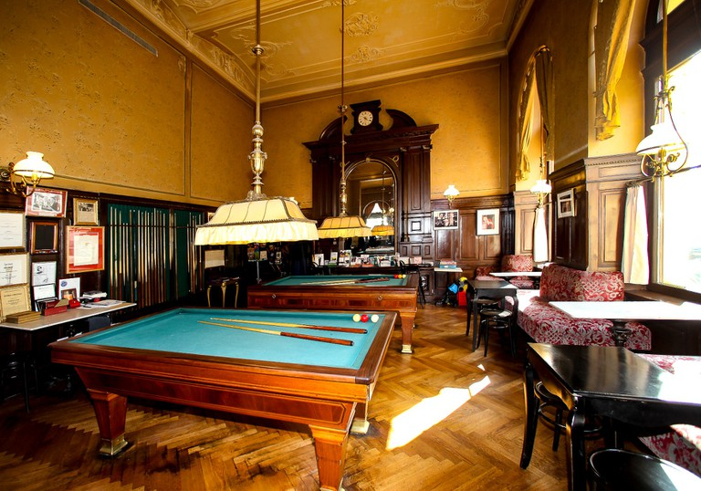 Pool table in the traditional coffee house