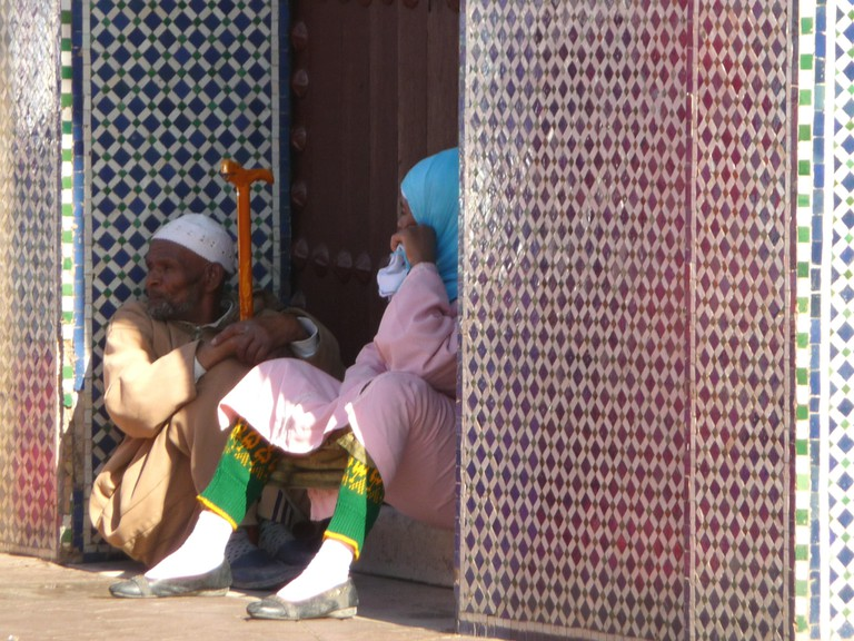 Seeking shade in Marrakech medina