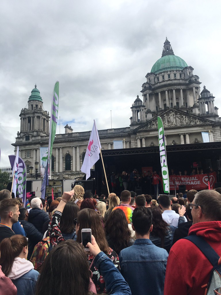 Outside City Hall at July's March for Civil Marriage Equality