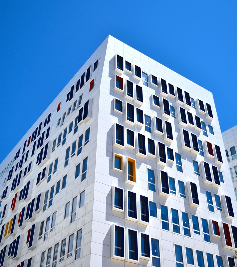 Interesting-looking apartment buildings are being built