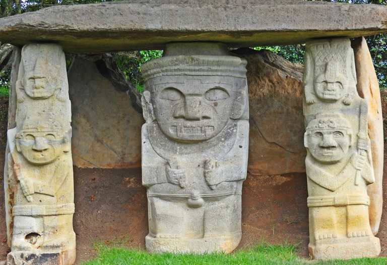Stone statues guarding burial sites in San Agustin