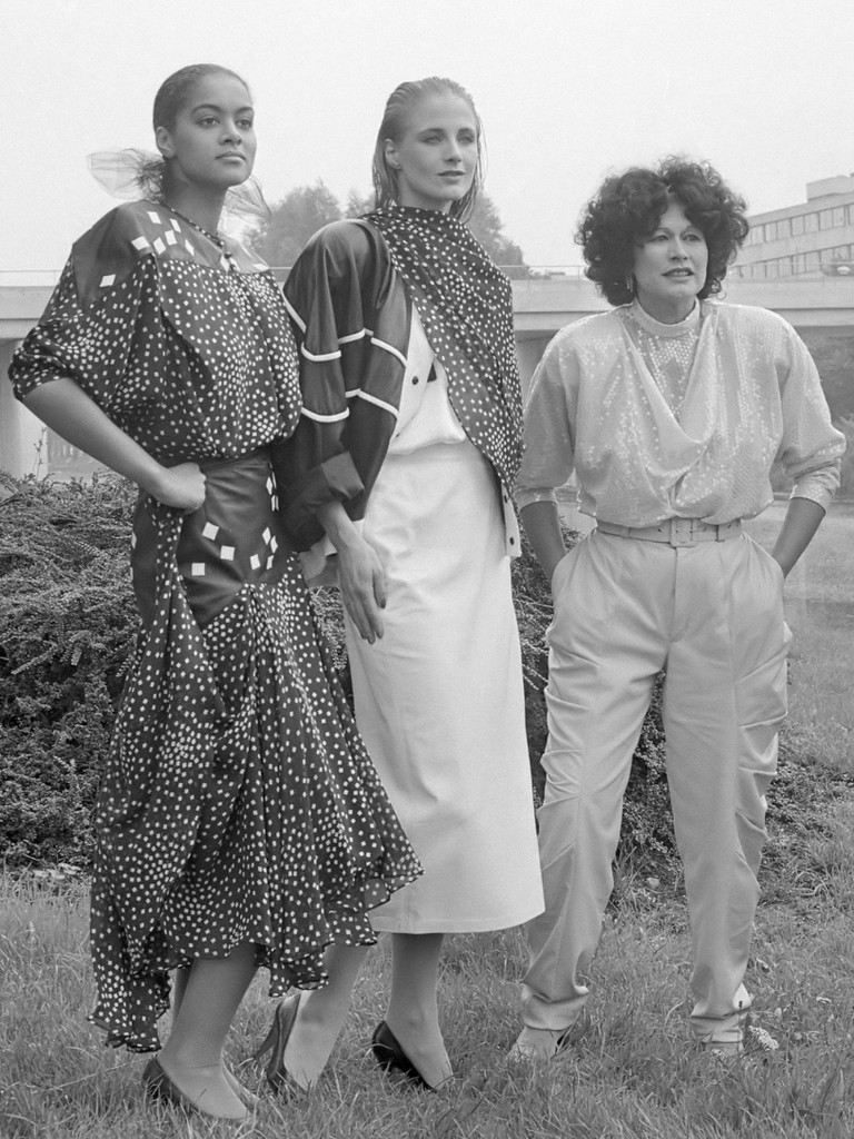 Fong Leng (far-right) with two models wearing her clothing in 1984