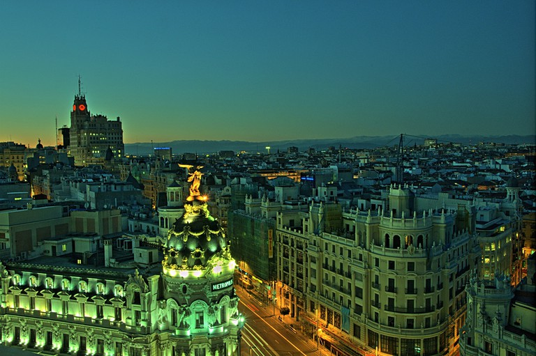 Madrid's Gran Vía, with the Telefonica Building towering in the background