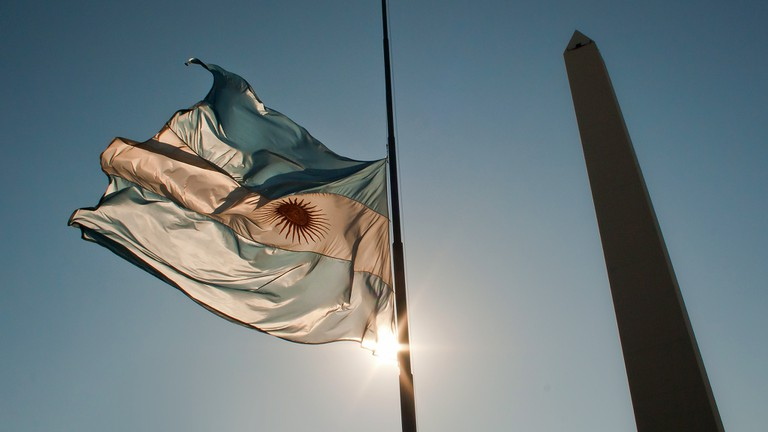 The ultimate symbol of Argentine independence, the Argentine flag beside the Obelisco
