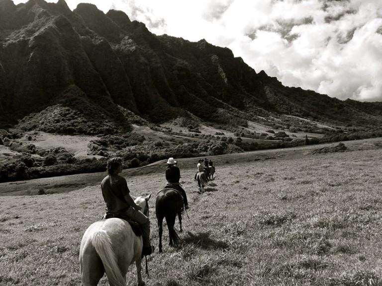 Touring Kaʻaʻawa Valley on horseback
