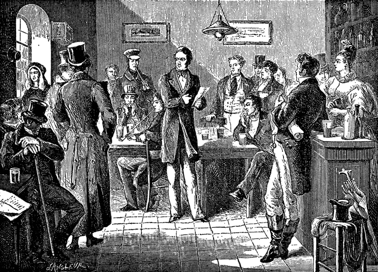 Litography of Jenneval reciting the first draft of the Brabançonne to his revolutionary friends in Brussels pub Aigle d'Or | public domain