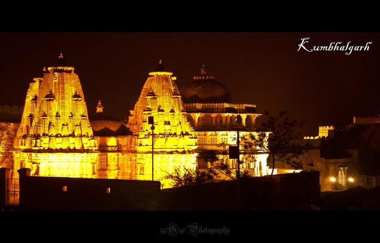 Kumbhalgarh Fort illuminated with lights