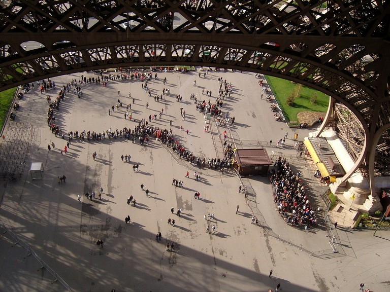 Line at the Eiffel Tower │