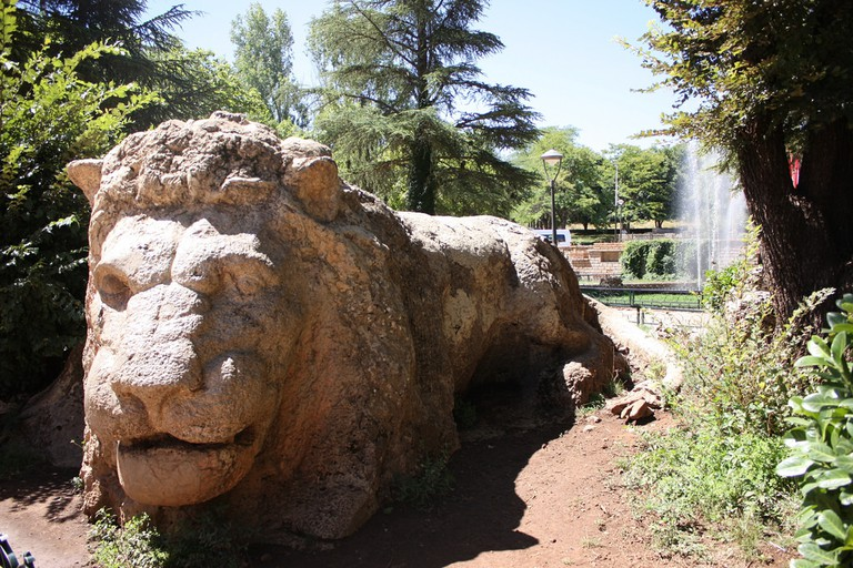 Ifrane's weathered stone lion