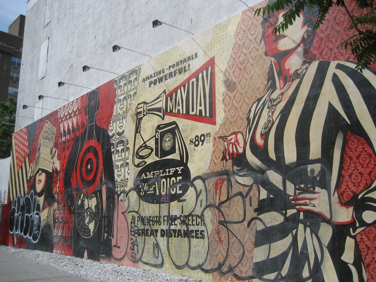 May Day mural by Shepard Fairey, on the Bowery | © SliceofNYC / Flickr