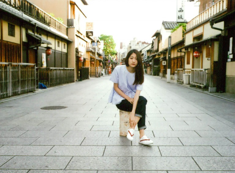 A model poses in Hanao Shoes