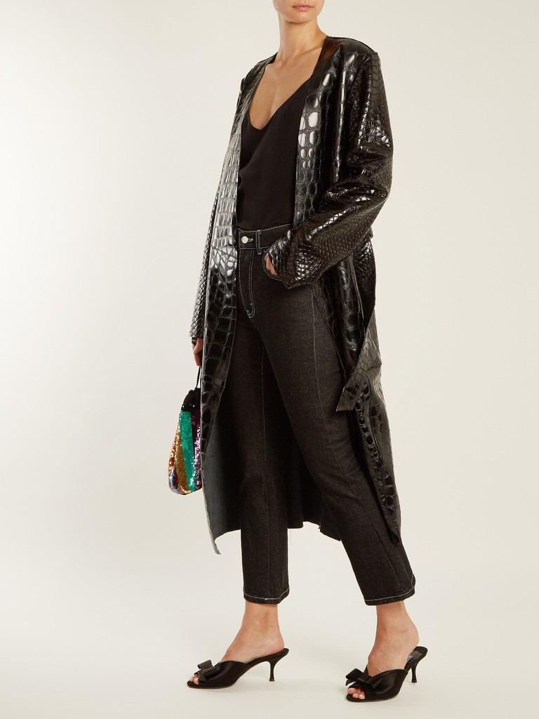 AtticoO Marla collarless crocodile-effect leather coat