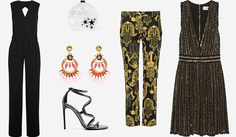 Iro crepe jumpsuit, Edie Parker clutch, Elizabeth Cole earrings, Tom Ford sandals, Versace printed pants,Badgley Mischka cotton mini dress