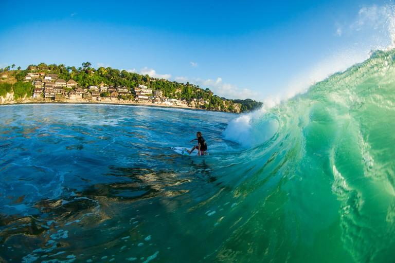 Santiago Hart, 14, in Bali | © Luke Forgay/Volcom