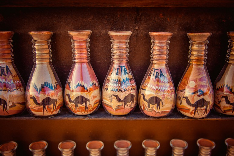 Sand-filled bottles are a wonderful memoir from your stay in Jordan