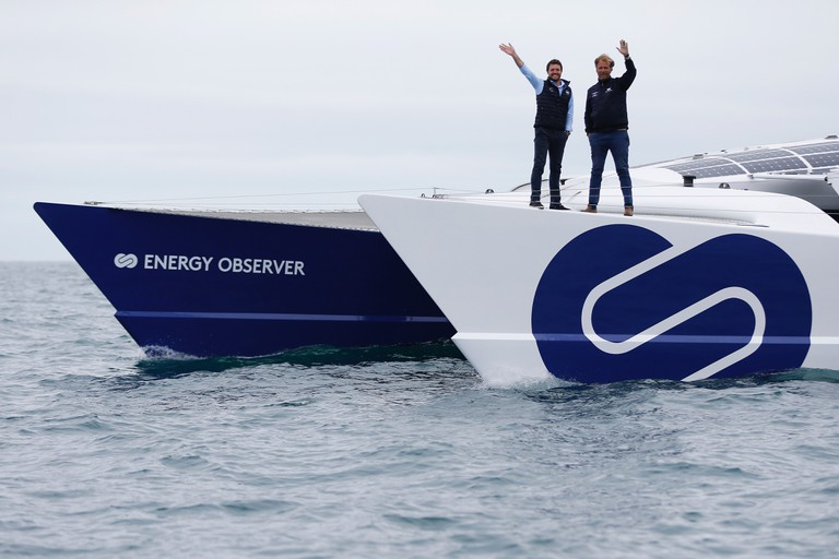 Victorien Erussard and Jérôme Delafosse onboard the Energy Observer │Courtesy of Energy Observer