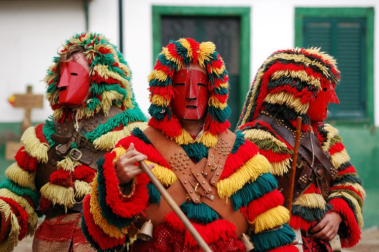 In northern Portugal, men and boys dress in Caretos costumes for various events, including Carnaval and the Festival dos Rapazes