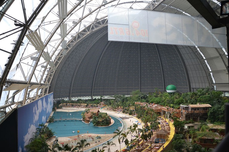 The water theme park enclosed in a dome