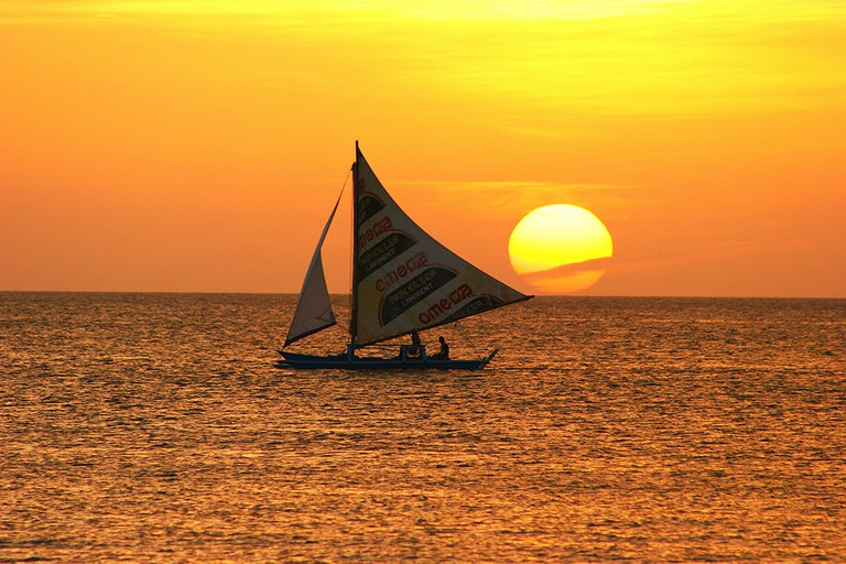 Sailing at sunset in Boracay