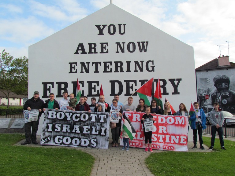 A show of solidarity with Palestine at Free Derry corner