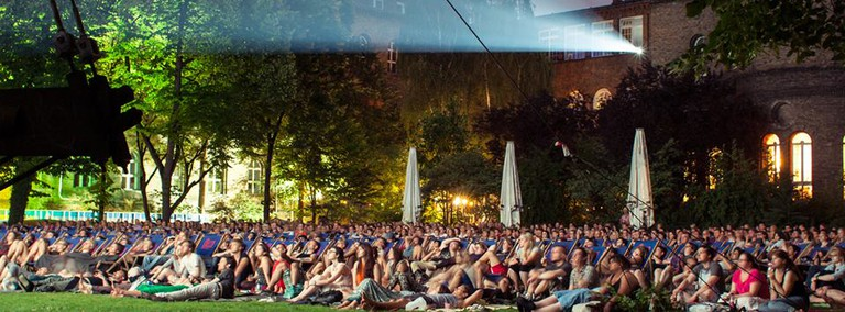 People enjoying the open-air cinema in Kreuzberg