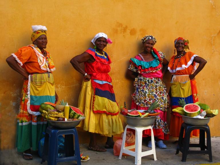 Cartagena's Palenqueras pose for a photo