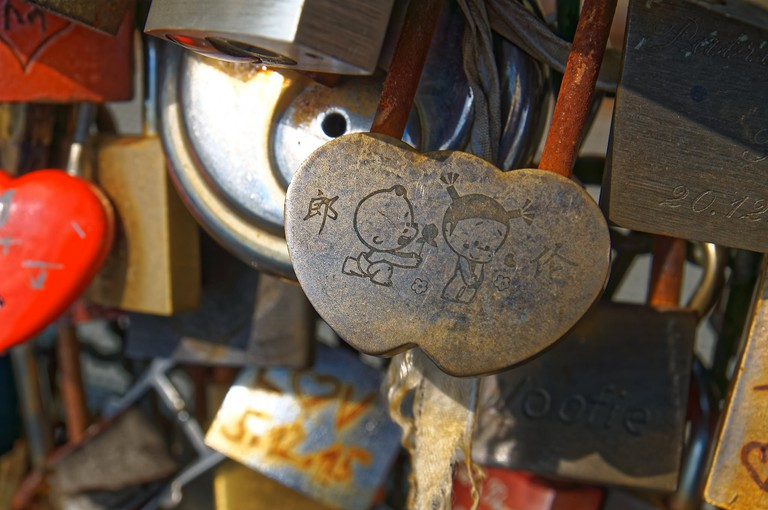 Engraved padlock in Cologne