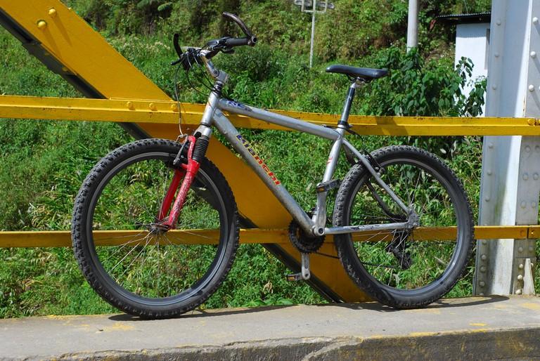 Rented mountain bike, Baños, Ecuador